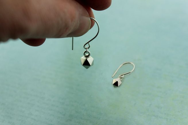 Icosahedron Earrings Sterling Silver