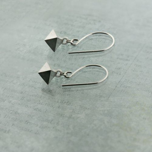 Octahedron Earrings Sterling Silver