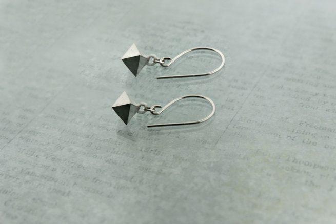 Octahedron Earrings Sterling Silver
