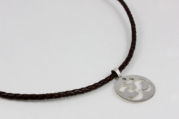 OM necklace Sterling silver and leather