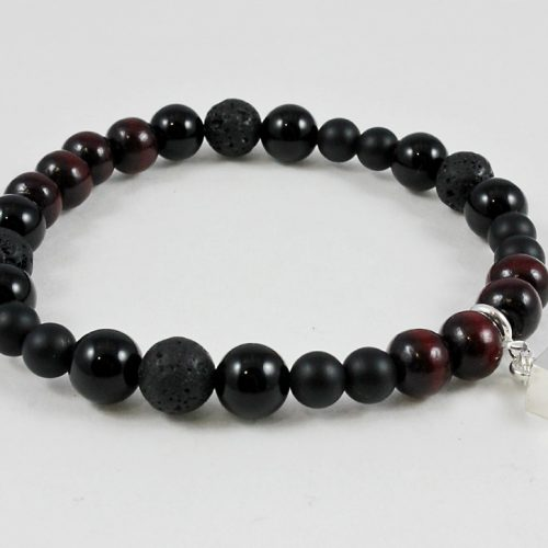 Protection bracelet with onyx, lava stone, sandalwood and cube