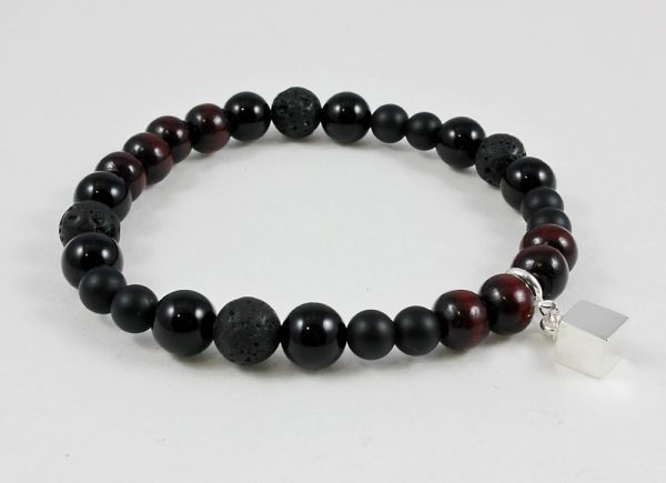 Protection bracelet with onyx, lava stone, sandalwood and cube
